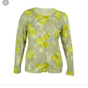 Charter Club Yellow grey, white floral Cardigan